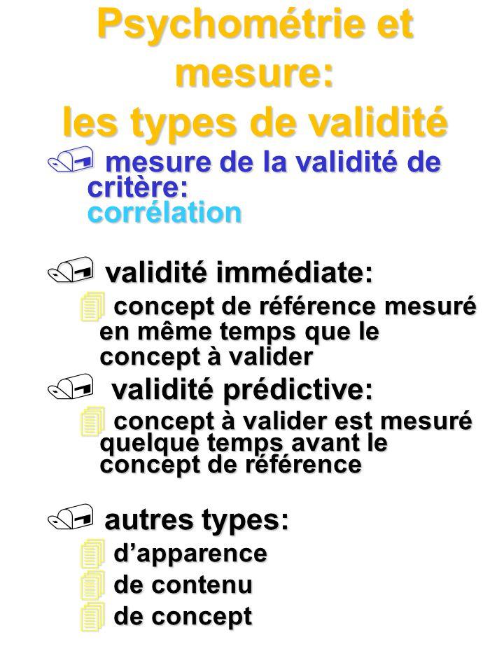 Psychométrie et mesure: les types de validité mesure de la validité de critère: corrélation mesure de la validité de critère: corrélation / validité i