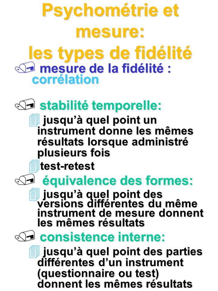 Psychométrie et mesure: les types de fidélité mesure de la fidélité : corrélation mesure de la fidélité : corrélation / stabilité temporelle: 4 jusquà