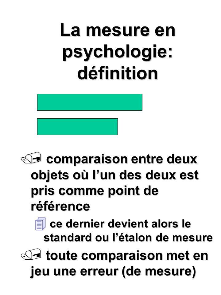 La mesure en psychologie: définition / comparaison entre deux objets où lun des deux est pris comme point de référence 4 ce dernier devient alors le s