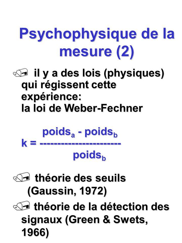 Psychophysique de la mesure (2) / il y a des lois (physiques) qui régissent cette expérience: la loi de Weber-Fechner poids a - poids b k = ----------