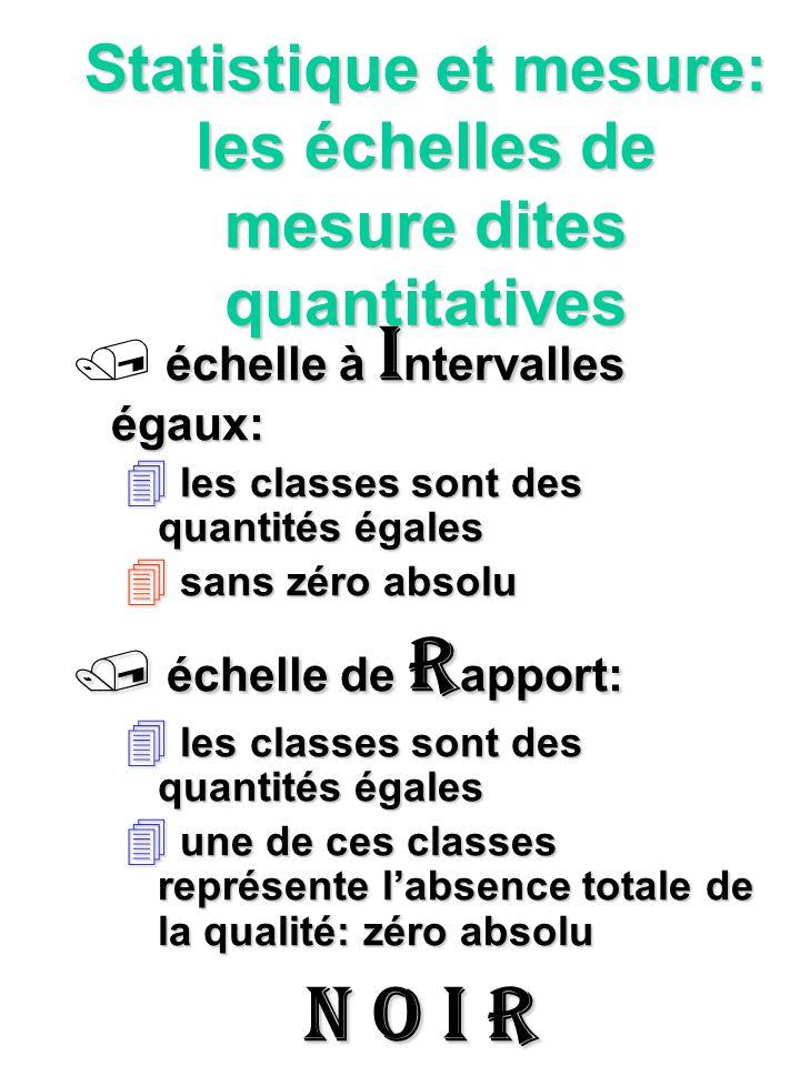 Statistique et mesure: les échelles de mesure dites quantitatives échelle à I ntervalles égaux: 4 les classes sont des quantités égales sans zéro abso