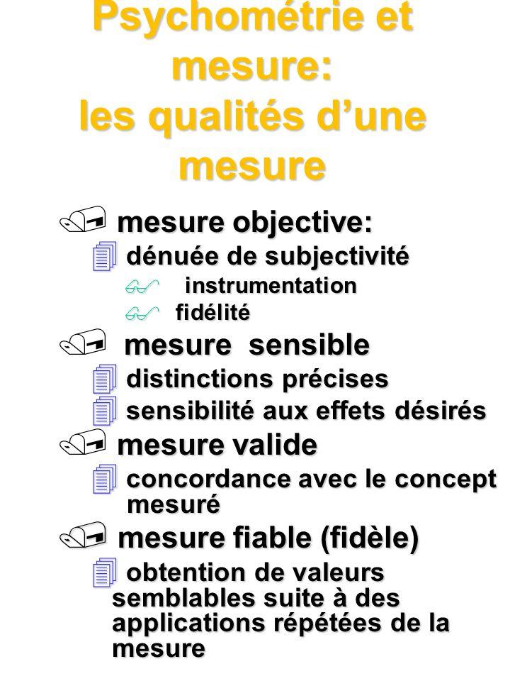Psychométrie et mesure: les qualités dune mesure mesure objective: 4 dénuée de subjectivité $ instrumentation fidélité fidélité mesure sensible 4 dist