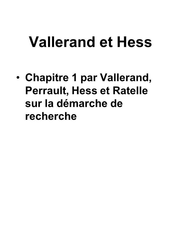 Vallerand et Hess Chapitre 1 par Vallerand, Perrault, Hess et Ratelle sur la démarche de recherche