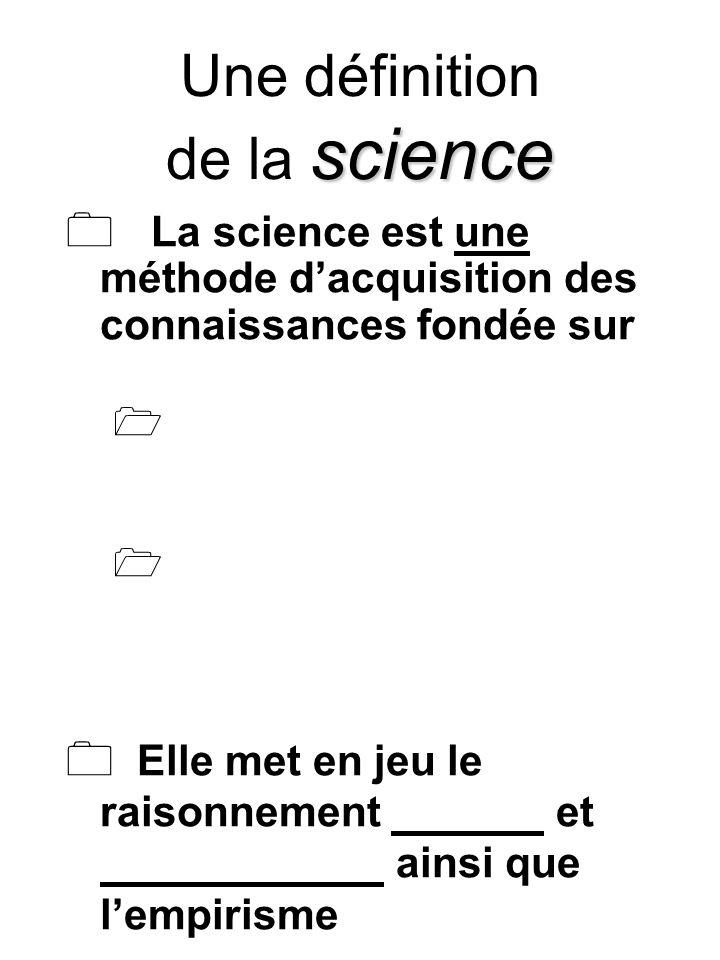 science Une définition de la science La science est une méthode dacquisition des connaissances fondée sur Elle met en jeu le raisonnement et ainsi que lempirisme