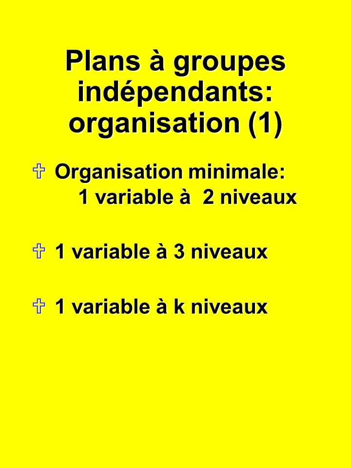 Plans à groupes indépendants: organisation (1) Organisation minimale: 1 variable à 2 niveaux Organisation minimale: 1 variable à 2 niveaux 1 variable à 3 niveaux 1 variable à 3 niveaux 1 variable à k niveaux 1 variable à k niveaux