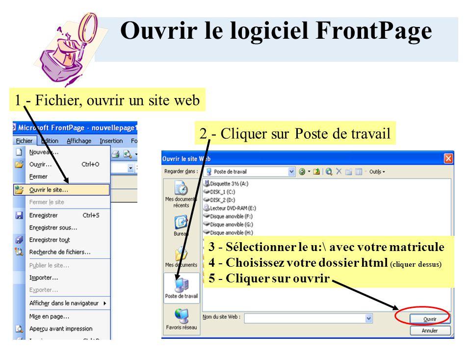 1 - Fichier, ouvrir un site web Ouvrir le logiciel FrontPage 3 - Sélectionner le u:\ avec votre matricule 4 - Choisissez votre dossier html (cliquer dessus) 5 - Cliquer sur ouvrir 2 - Cliquer sur Poste de travail