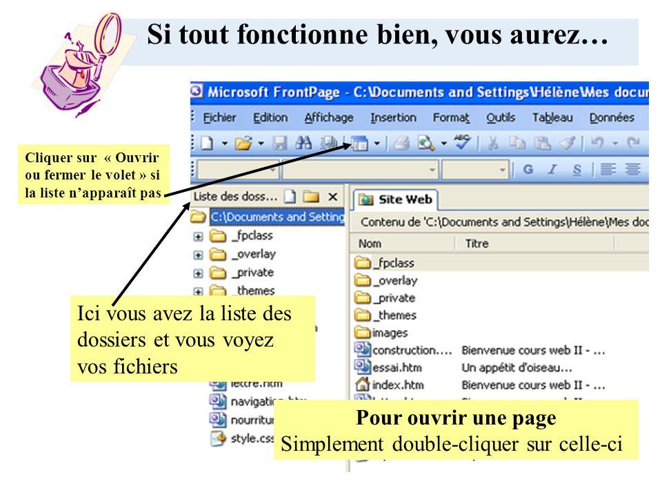 Dans FrontPage, fichier, ouvrir un site web Cliquer sur Poste de travail Sélectionner le u:\avec votre matricule, Choisissez votre dossier html Ensuite sélectionner la page à ouvrir.