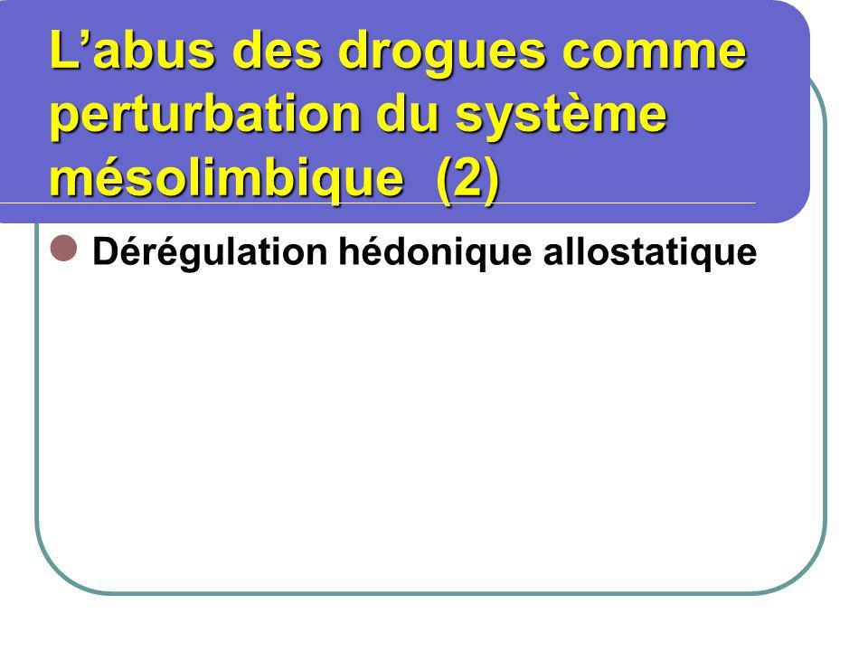 Dérégulation hédonique allostatique Labus des drogues comme perturbation du système mésolimbique (2) Labus des drogues comme perturbation du système mésolimbique (2)
