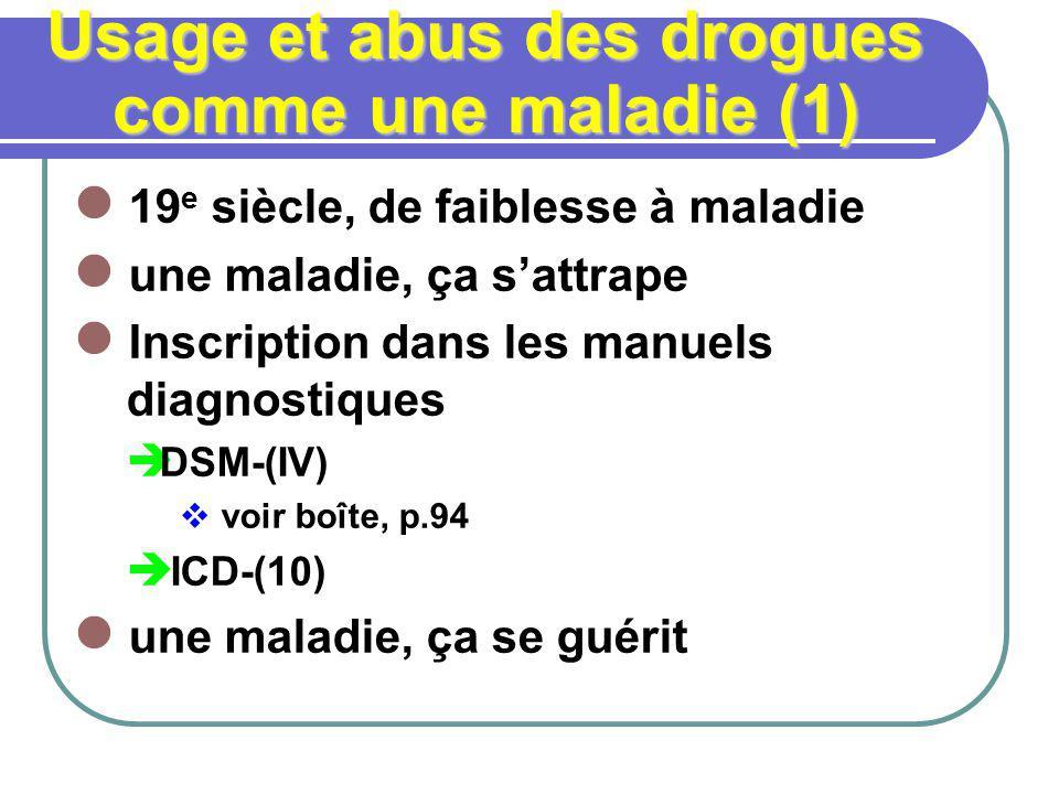 Usage et abus des drogues comme une maladie (1) 19 e siècle, de faiblesse à maladie une maladie, ça sattrape Inscription dans les manuels diagnostique
