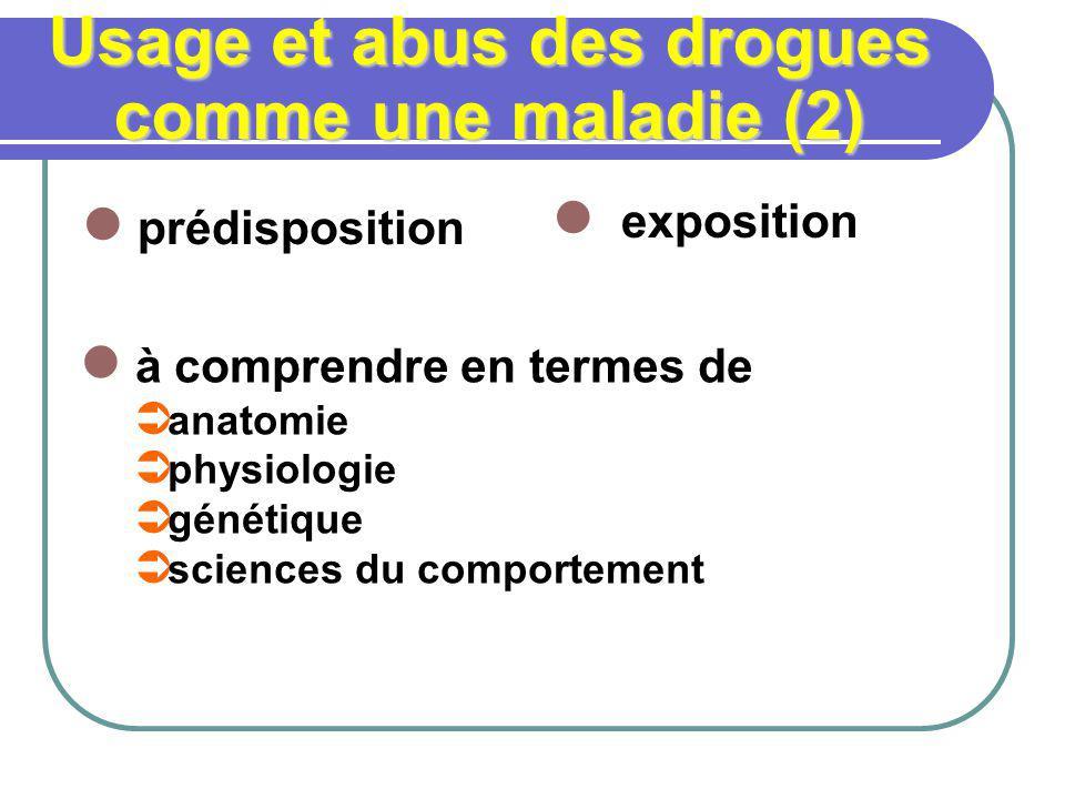 Usage et abus des drogues comme une maladie (2) prédisposition exposition à comprendre en termes de anatomie physiologie génétique sciences du comport