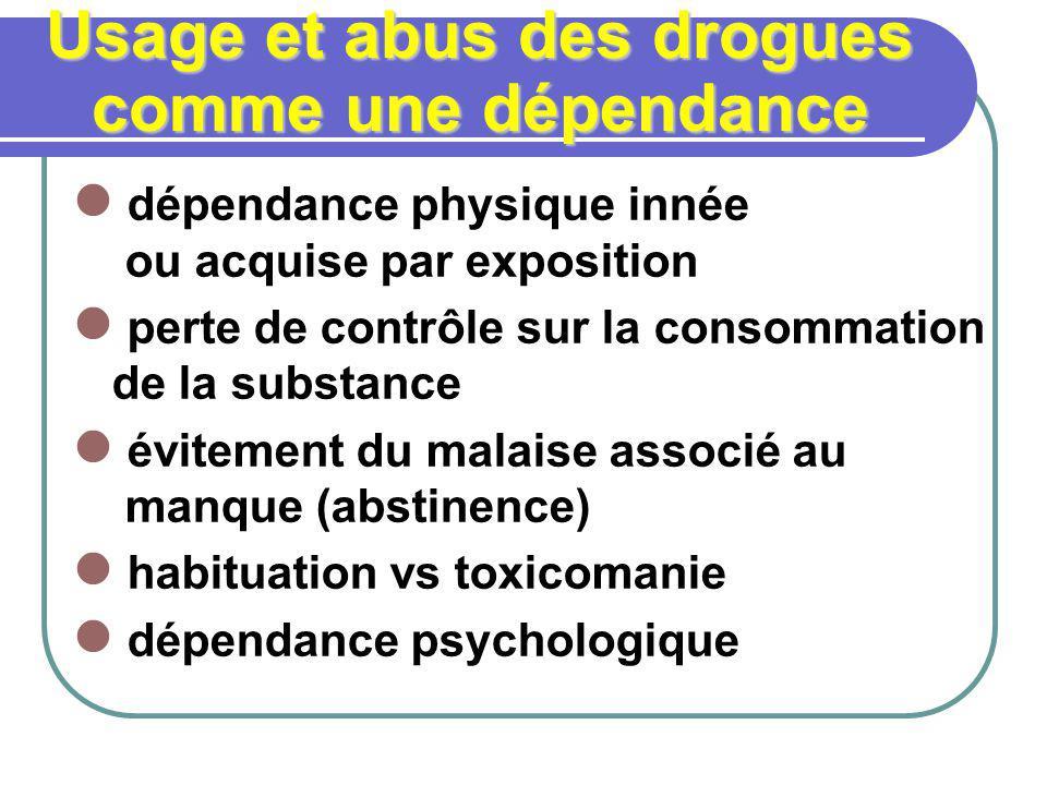 Usage et abus des drogues comme une dépendance dépendance physique innée ou acquise par exposition perte de contrôle sur la consommation de la substan