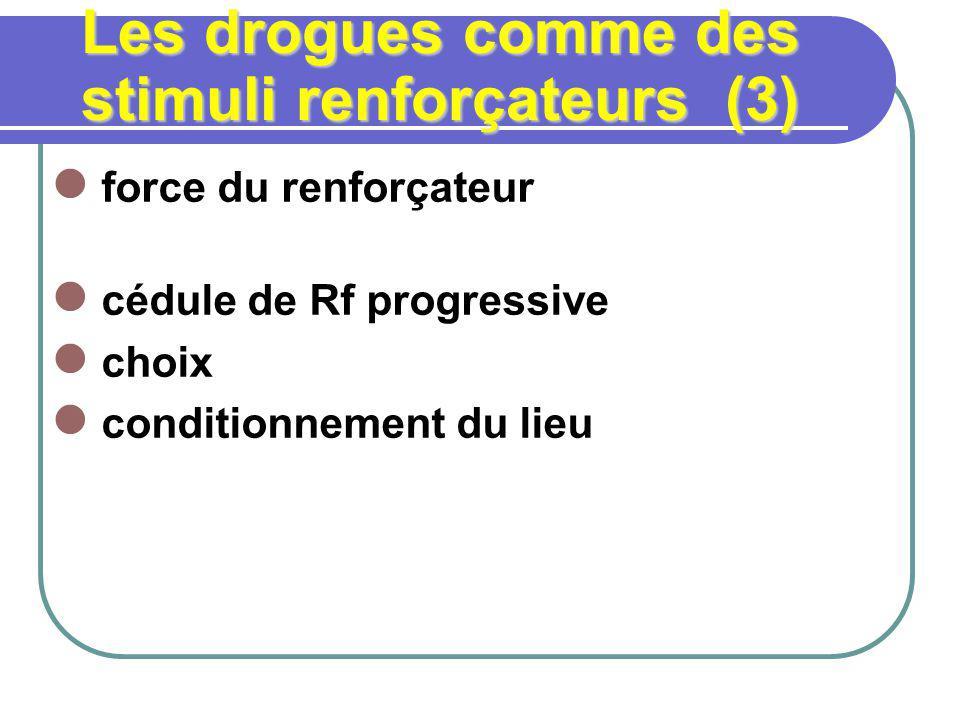 Les drogues comme des stimuli renforçateurs (3) force du renforçateur cédule de Rf progressive choix conditionnement du lieu