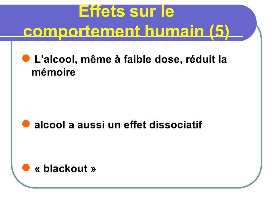 Effets sur le comportement humain (5) Lalcool, même à faible dose, réduit la mémoire alcool a aussi un effet dissociatif « blackout »