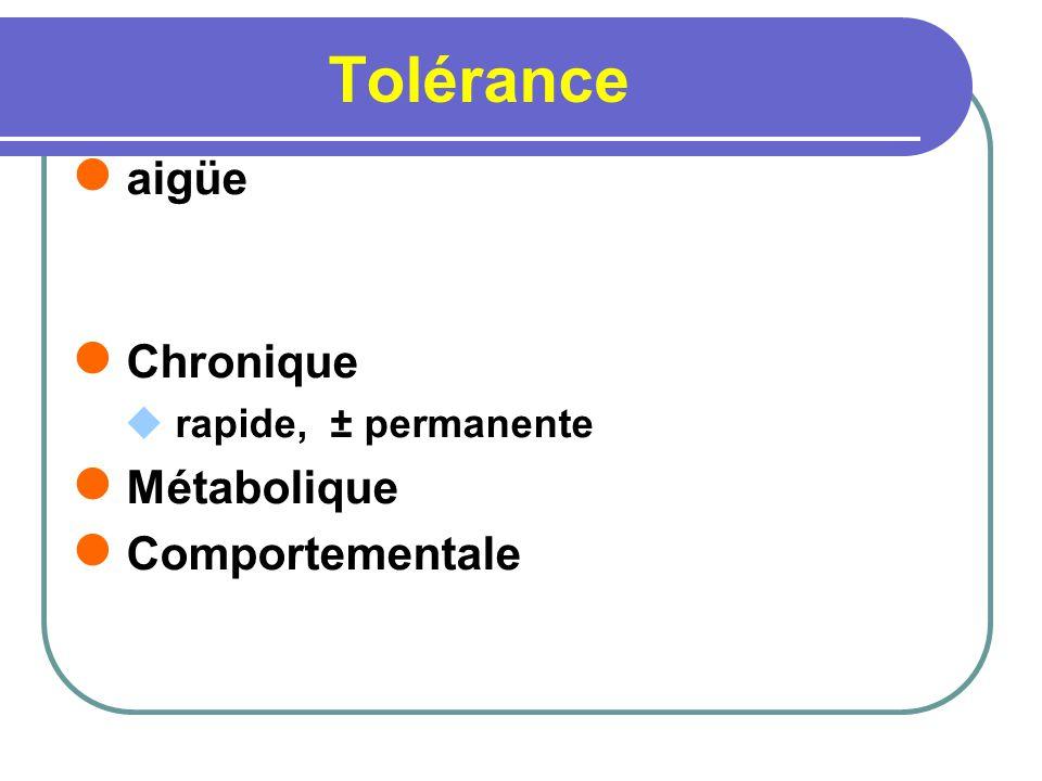 Tolérance aigüe Chronique rapide, ± permanente Métabolique Comportementale