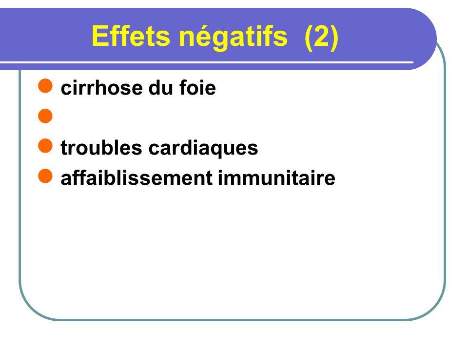 Effets négatifs (2) cirrhose du foie troubles cardiaques affaiblissement immunitaire
