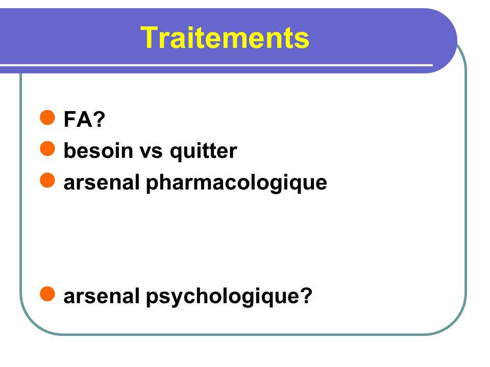 Traitements FA? besoin vs quitter arsenal pharmacologique arsenal psychologique?