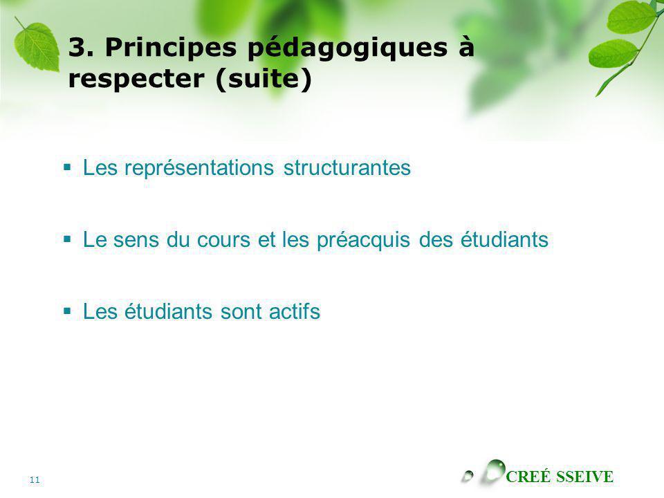 CREÉ SSEIVE 11 3. Principes pédagogiques à respecter (suite) Les représentations structurantes Le sens du cours et les préacquis des étudiants Les étu