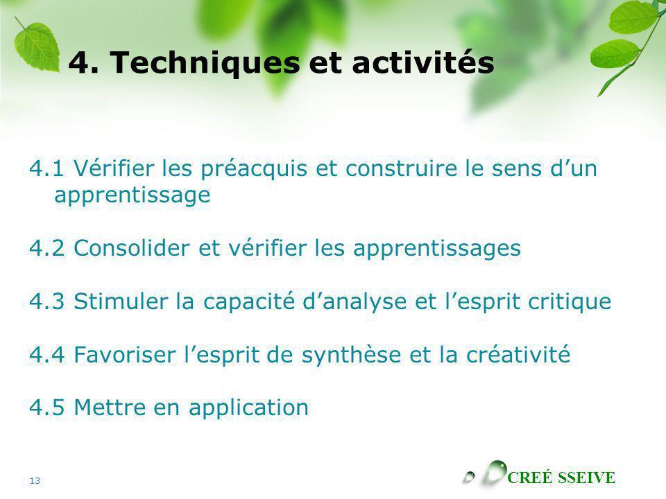 CREÉ SSEIVE 13 4. Techniques et activités 4.1 Vérifier les préacquis et construire le sens dun apprentissage 4.2 Consolider et vérifier les apprentiss