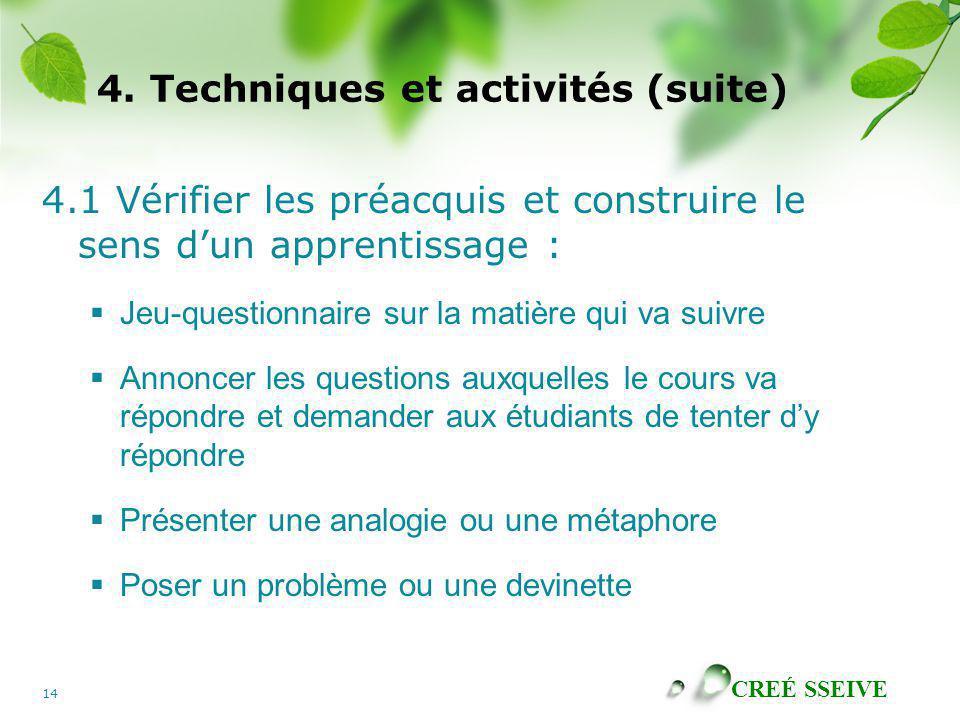 CREÉ SSEIVE 14 4. Techniques et activités (suite) 4.1 Vérifier les préacquis et construire le sens dun apprentissage : Jeu-questionnaire sur la matièr