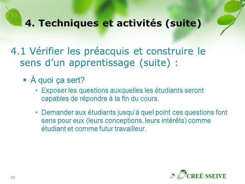 CREÉ SSEIVE 15 4. Techniques et activités (suite) 4.1 Vérifier les préacquis et construire le sens dun apprentissage (suite) : À quoi ça sert? Exposer