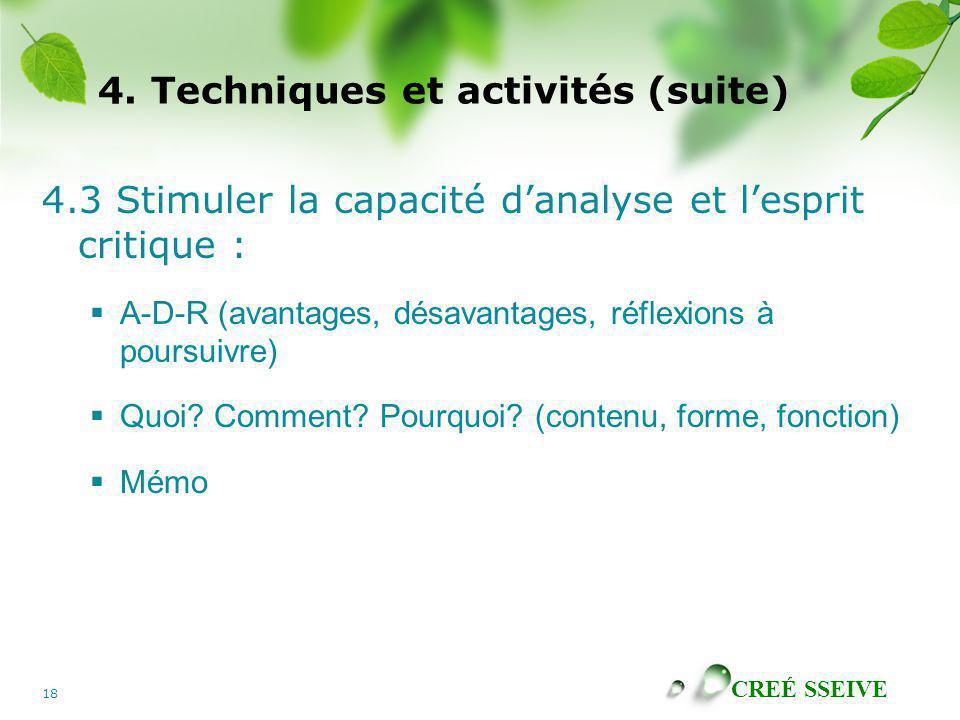 CREÉ SSEIVE 18 4. Techniques et activités (suite) 4.3 Stimuler la capacité danalyse et lesprit critique : A-D-R (avantages, désavantages, réflexions à