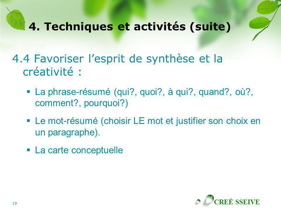 CREÉ SSEIVE 19 4. Techniques et activités (suite) 4.4 Favoriser lesprit de synthèse et la créativité : La phrase-résumé (qui?, quoi?, à qui?, quand?,