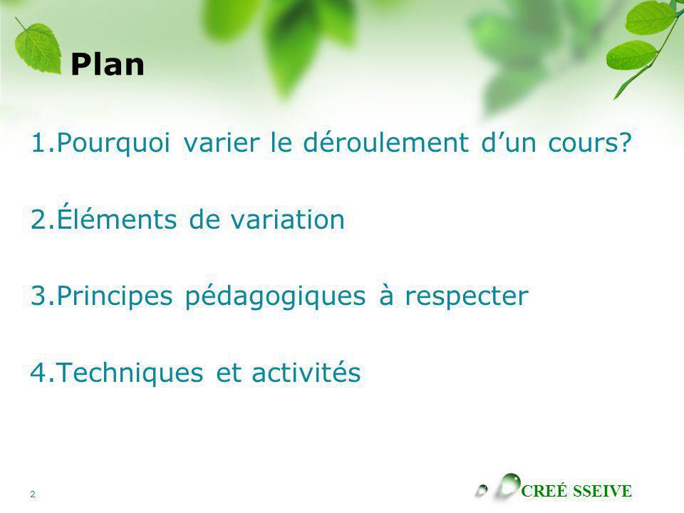 CREÉ SSEIVE 2 Plan 1.Pourquoi varier le déroulement dun cours? 2.Éléments de variation 3.Principes pédagogiques à respecter 4.Techniques et activités