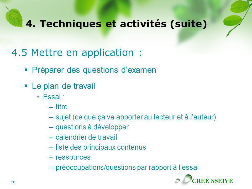 CREÉ SSEIVE 20 4. Techniques et activités (suite) 4.5 Mettre en application : Préparer des questions dexamen Le plan de travail Essai : –titre –sujet