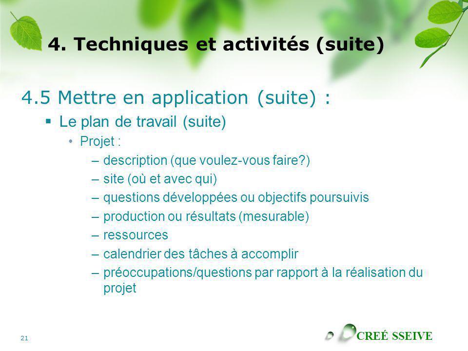 CREÉ SSEIVE 21 4. Techniques et activités (suite) 4.5 Mettre en application (suite) : Le plan de travail (suite) Projet : –description (que voulez-vou