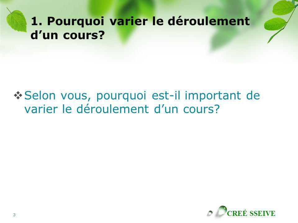 CREÉ SSEIVE 3 1. Pourquoi varier le déroulement dun cours? Selon vous, pourquoi est-il important de varier le déroulement dun cours?