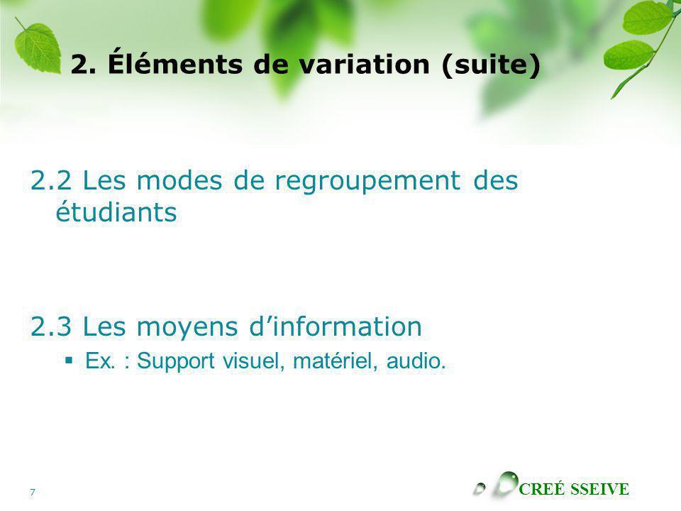 CREÉ SSEIVE 7 2. Éléments de variation (suite) 2.2 Les modes de regroupement des étudiants 2.3 Les moyens dinformation Ex. : Support visuel, matériel,