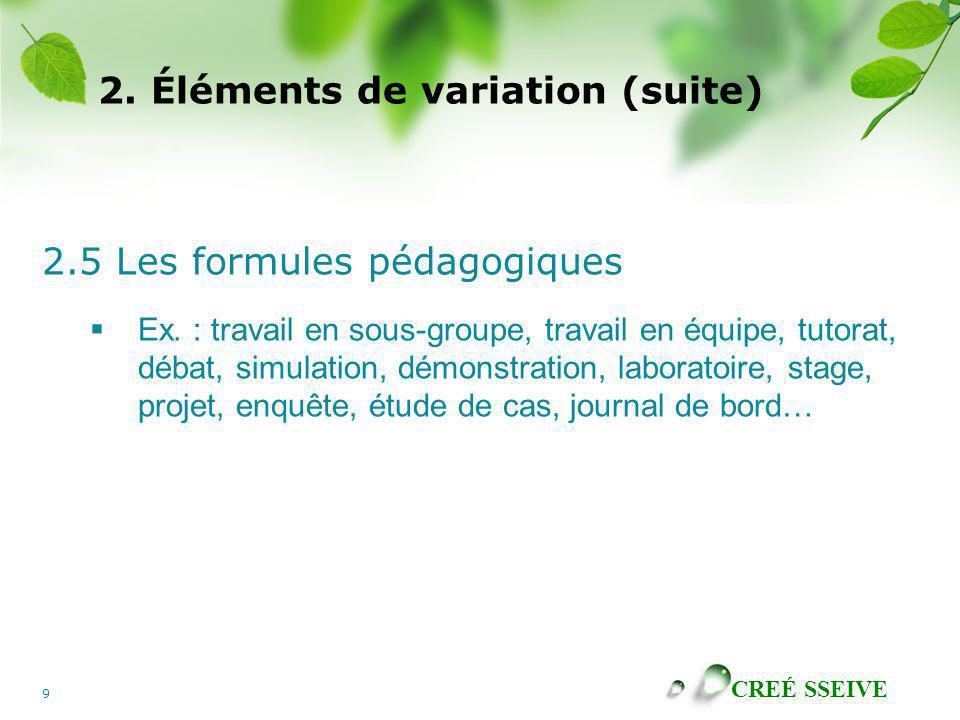CREÉ SSEIVE 9 2. Éléments de variation (suite) 2.5 Les formules pédagogiques Ex. : travail en sous-groupe, travail en équipe, tutorat, débat, simulati
