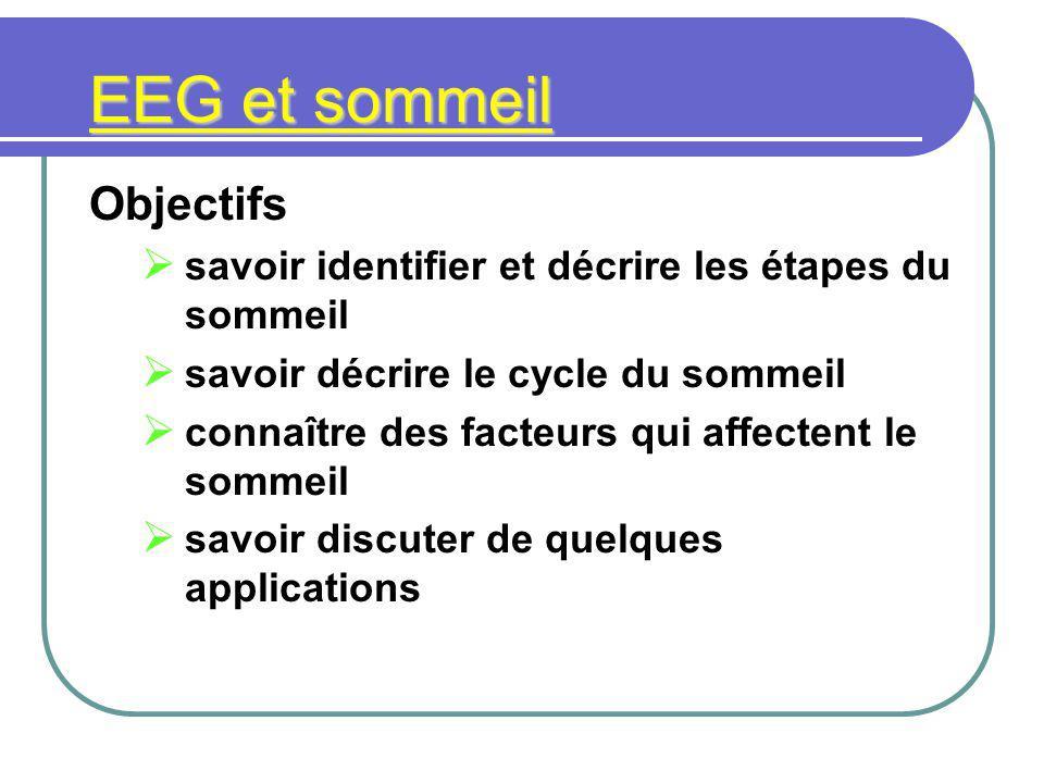 EEG et sommeil Objectifs savoir identifier et décrire les étapes du sommeil savoir décrire le cycle du sommeil connaître des facteurs qui affectent le