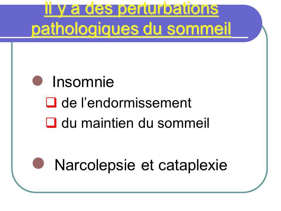 Il y a des perturbations pathologiques du sommeil Insomnie de lendormissement du maintien du sommeil Narcolepsie et cataplexie