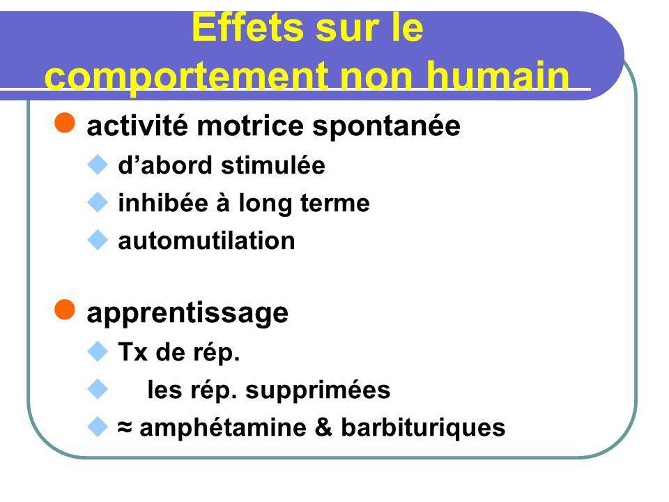 Effets sur le comportement non humain activité motrice spontanée dabord stimulée inhibée à long terme automutilation apprentissage Tx de rép. les rép.