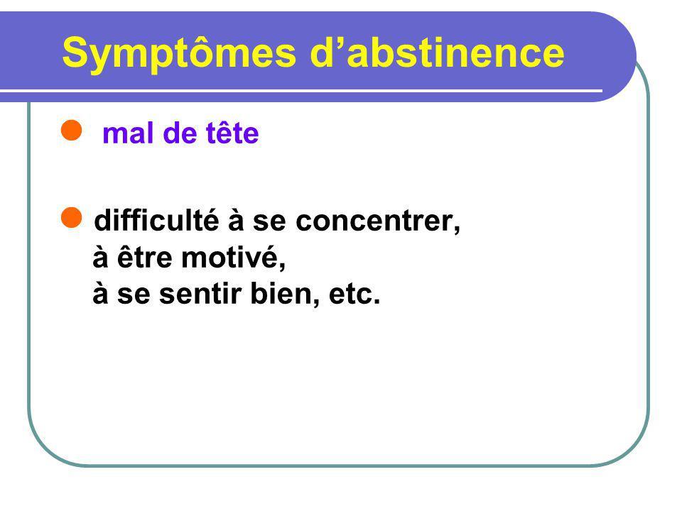 Symptômes dabstinence mal de tête difficulté à se concentrer, à être motivé, à se sentir bien, etc.