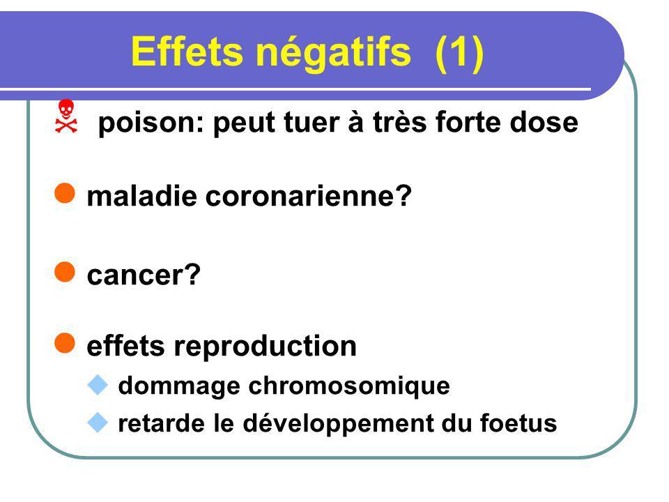 Effets négatifs (1) poison: peut tuer à très forte dose maladie coronarienne? cancer? effets reproduction dommage chromosomique retarde le développeme