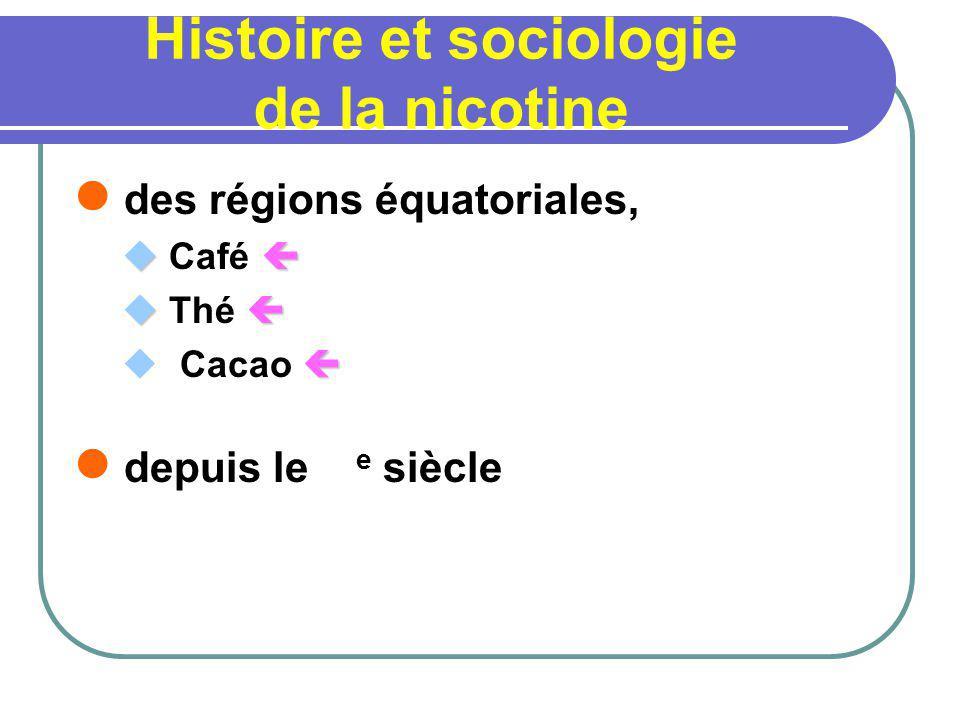 Histoire et sociologie de la nicotine des régions équatoriales, Café Thé Cacao depuis le e siècle