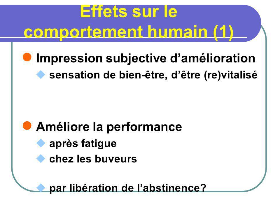 Effets sur le comportement humain (1) Impression subjective damélioration sensation de bien-être, dêtre (re)vitalisé Améliore la performance après fat