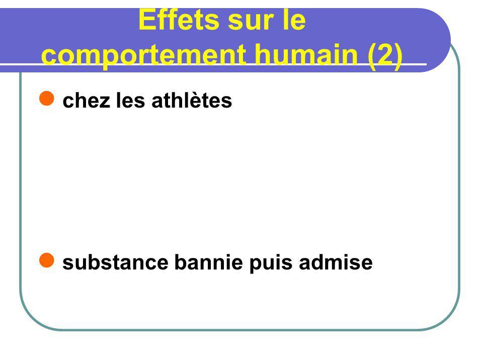 Effets sur le comportement humain (2) chez les athlètes substance bannie puis admise