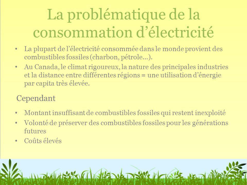 La problématique de la consommation délectricité La plupart de lélectricité consommée dans le monde provient des combustibles fossiles (charbon, pétro