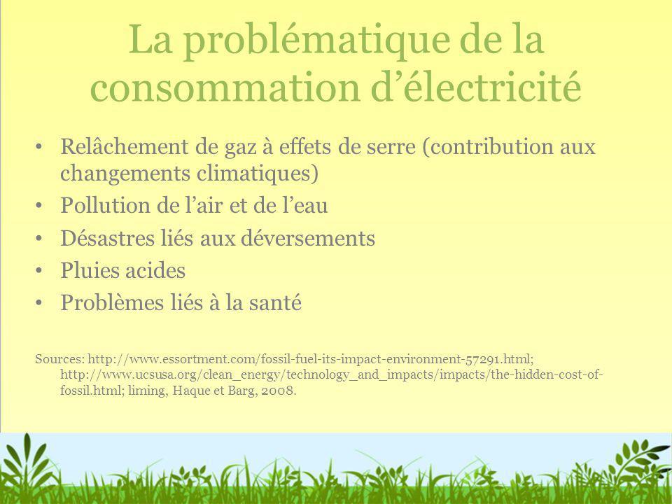 La problématique de la consommation délectricité Relâchement de gaz à effets de serre (contribution aux changements climatiques) Pollution de lair et