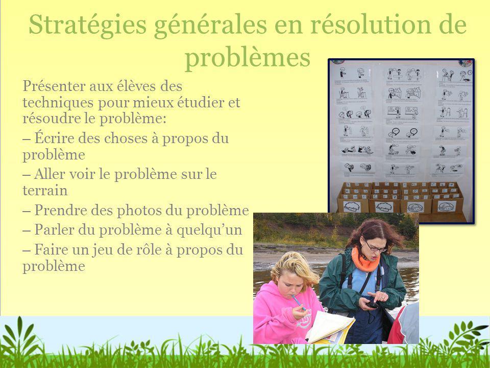 Stratégies générales en résolution de problèmes Présenter aux élèves des techniques pour mieux étudier et résoudre le problème: – Écrire des choses à