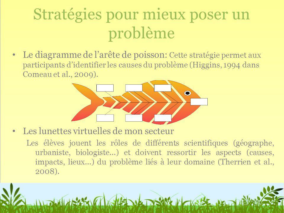Stratégies pour mieux poser un problème Le diagramme de larête de poisson: Cette stratégie permet aux participants didentifier les causes du problème