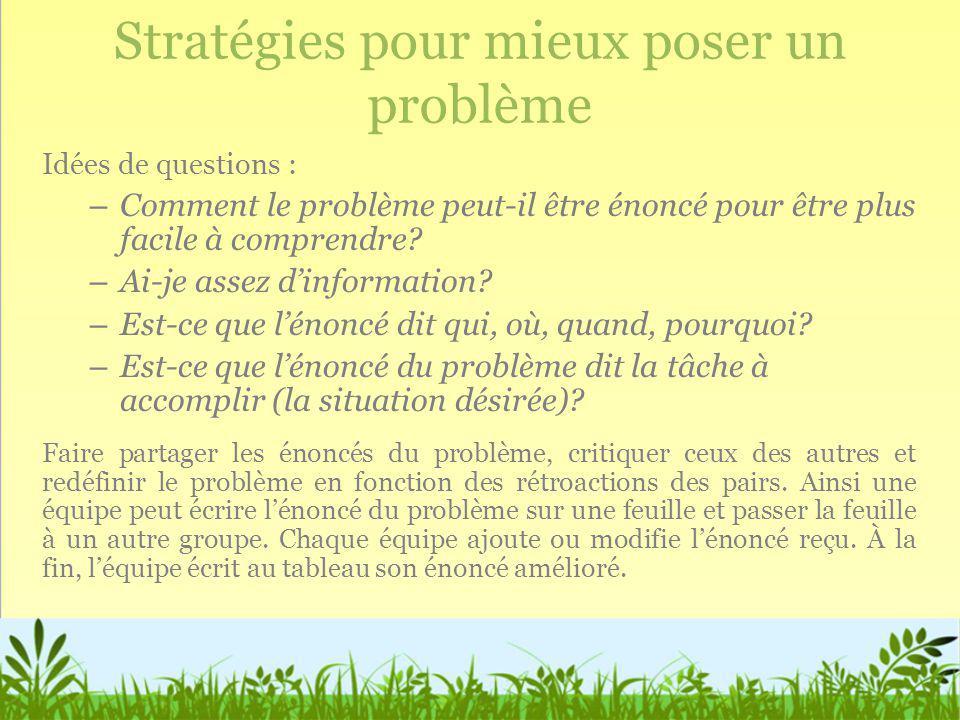Stratégies pour mieux poser un problème Idées de questions : – Comment le problème peut-il être énoncé pour être plus facile à comprendre? – Ai-je ass