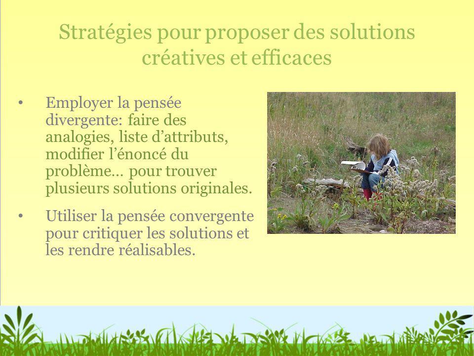 Stratégies pour proposer des solutions créatives et efficaces Employer la pensée divergente: faire des analogies, liste dattributs, modifier lénoncé d