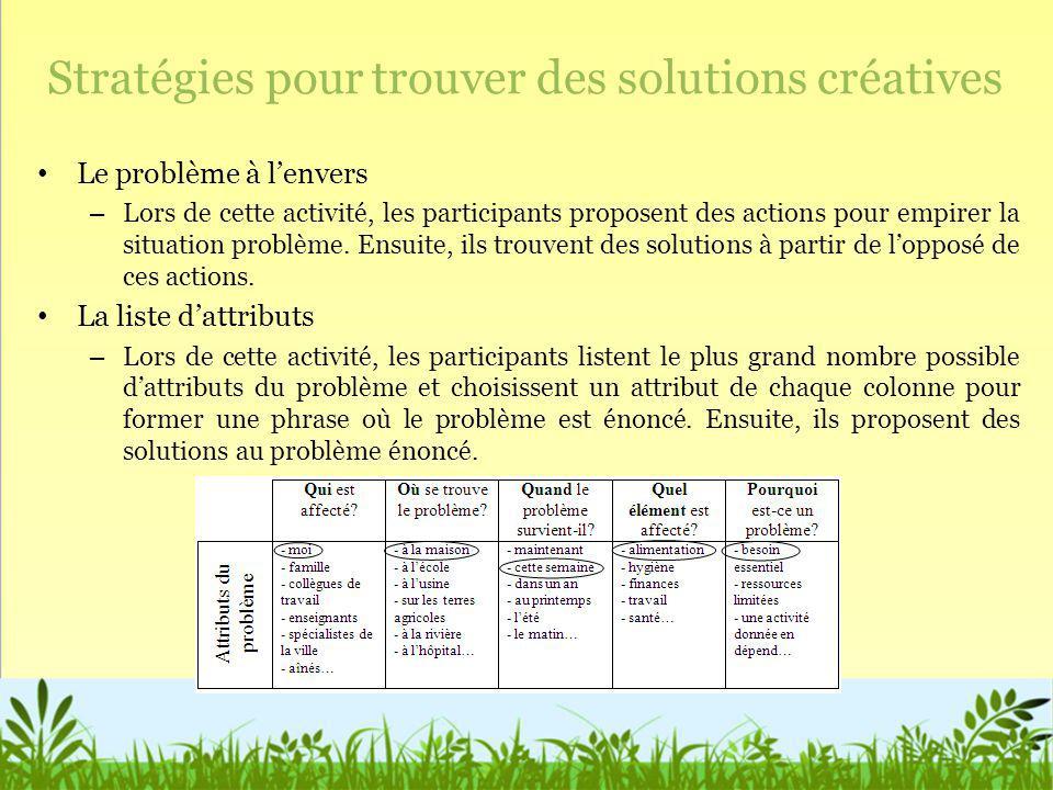 Stratégies pour trouver des solutions créatives Le problème à lenvers – Lors de cette activité, les participants proposent des actions pour empirer la