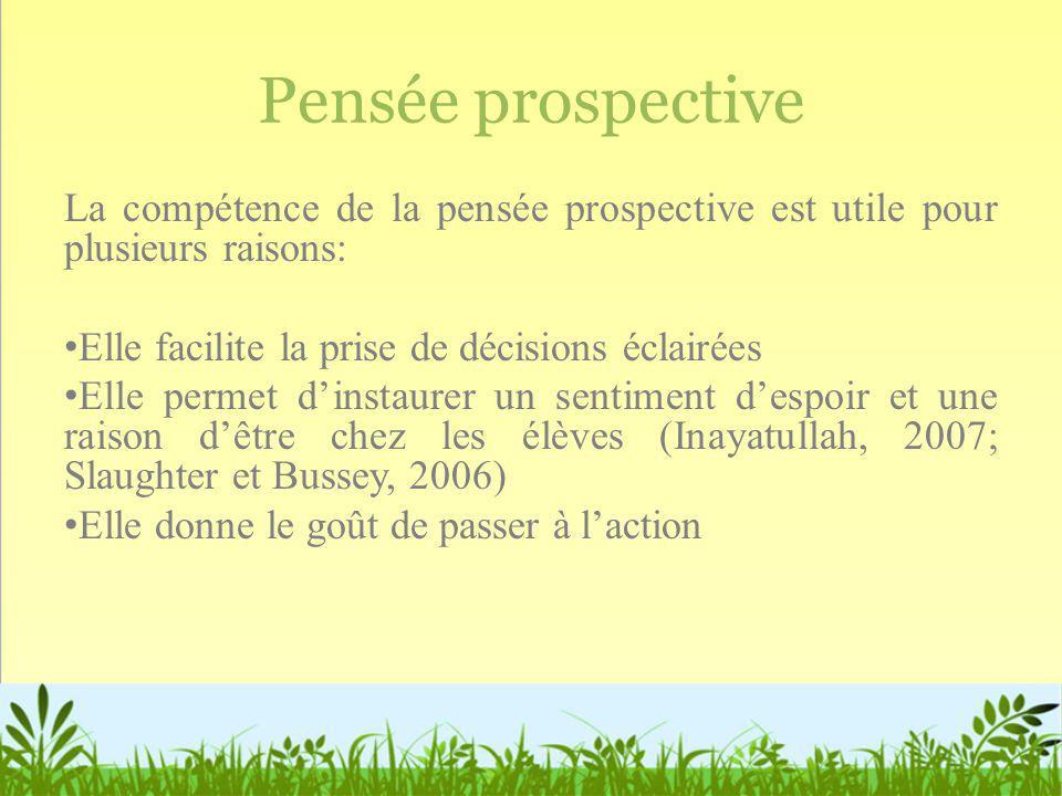 Pensée prospective La compétence de la pensée prospective est utile pour plusieurs raisons: Elle facilite la prise de décisions éclairées Elle permet