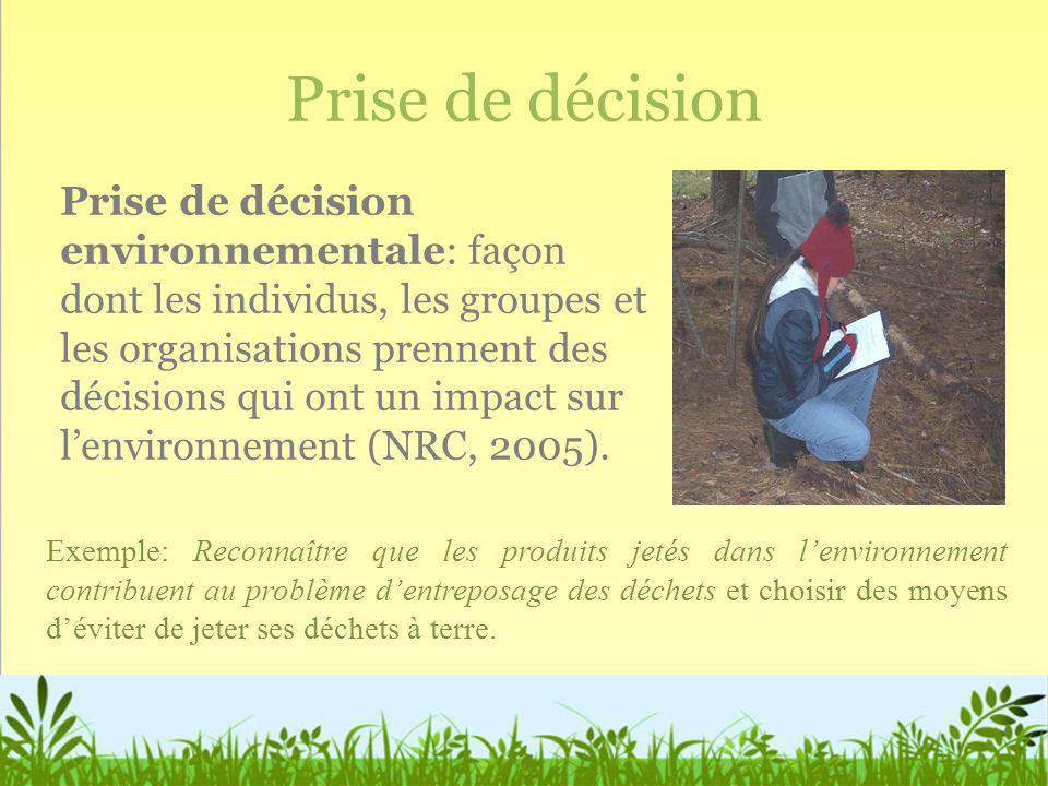 Prise de décision Prise de décision environnementale: façon dont les individus, les groupes et les organisations prennent des décisions qui ont un imp