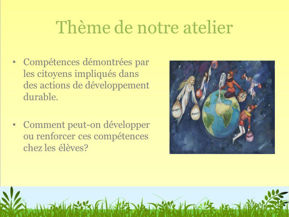 Nécessité de développer de nouvelles compétences Les changements environnementaux sont complexes Les notions reliées aux problèmes environnementaux sont difficiles à comprendre et à mémoriser Les problèmes environnementaux sont complexes et multidisciplinaires: impacts sur la santé, sur léconomie, sur les écosystèmes...